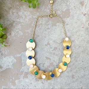 Kate Spade Gold Bib Gem Statement Necklace